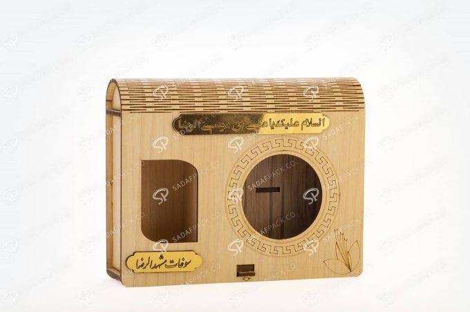 باکس چوبی کادویی آذین متوسط و 5 گرم فلزی