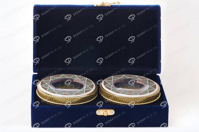 ##tt##- باکس مخملی دو قلو 5 گرم فلزی  36557