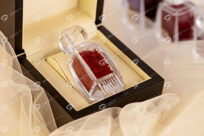 ##tt##- ظرف زعفران کریستالی طرح آذین کف بالا - کوچک 37420 | صدف پک