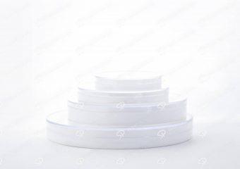 ظرف زعفران کریستالی طرح دایره کف سفید عمیق