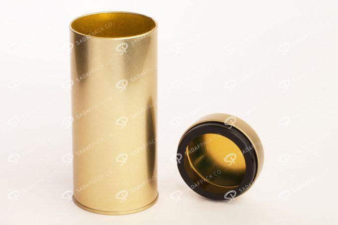 ##tt##- قوطی فلزی طلایی برای زعفران   تولید صدف پک   66 38688