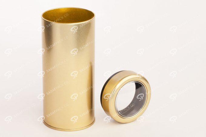 ##tt##- قوطی فلزی طلایی بلند | صدف پک |66 38689