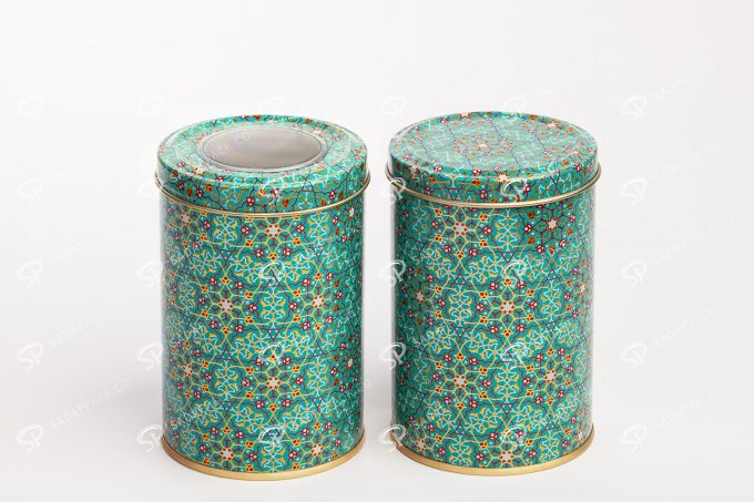 ##tt##- قوطی فلزی برای زعفران و قهوه و خشکبار طرح خاتم   صدف پک 70 38702