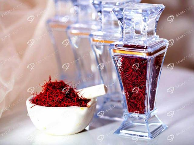ظرف پلی کریستال بسته بندی زعفران | شرکت صدف پک