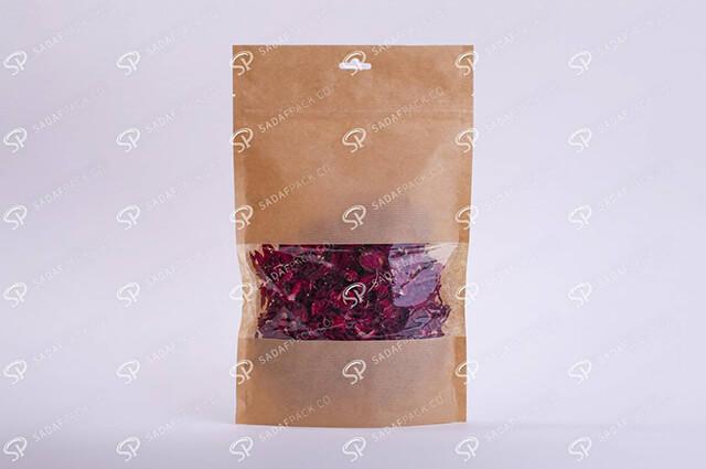 پاکت کرافت پنجره دار زعفران   شرکت صدف پک