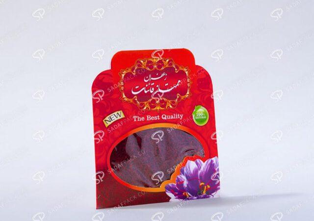چاپ روی پاکت بسته بندی زعفران | شرکت صدف پک