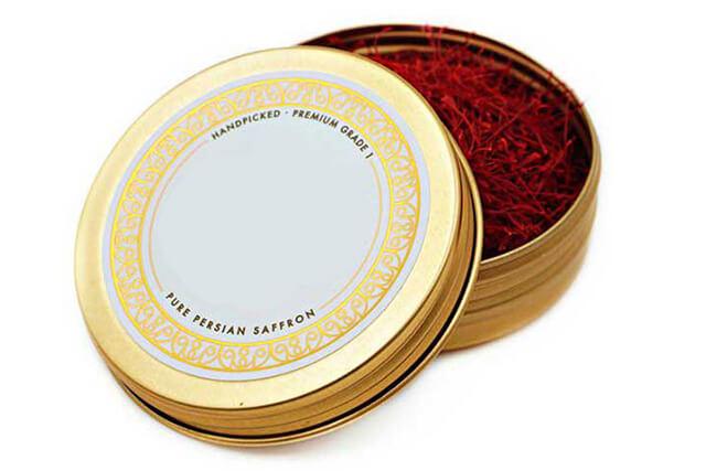 ظرف بسته بندی فلزی زعفران | شرکت صدف پک